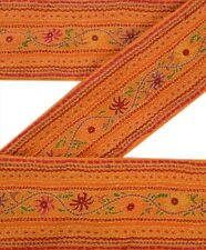 Vintage Sari Border Antique Hand Embroidered 1 YD Indian Trim Sewing Orange Lace