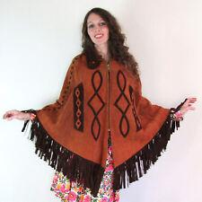 Vtg 60s 70s LEATHER FLOWER FRINGE CAPE coat HIPPIE FESTIVAL jacket WESTERN SUEDE