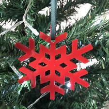 Red Crystal Snowflake Christmas Tree Decorations & Green Ribbon x 10