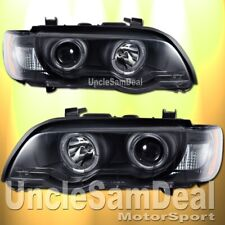 00-03 BMW X5 DUAL HALO RIMS WHITE LED STRIPES CLEAR PROJECTOR BLACK HEADLIGHTS