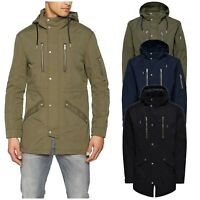 Only & Sons Mens Hoodies Parka Jacket Winter Warm Hooded Trench Long Coat XS-2XL