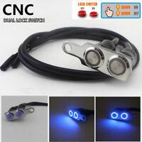 12V Wasserdicht Blau LED Motorrad Lenkerschalter Doppel EIN-AUS Taster Universal