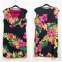 Ronni Nicole 14 Womens Black Tropical Flower Print Cap Sleeve Shift Midi Dress