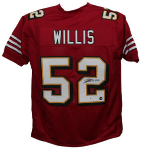 Patrick Willis Autographed/Signed Pro Style 3 Layer Red XL Jersey BAS 32568