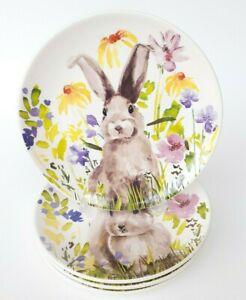 """Set 4 Prima Design Floral Spring Easter Bunny Rabbit 8.5"""" Ceramic Dessert Plates"""