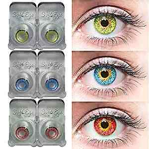 Blue, Green & Red Color Contact lens & Kit Zero Power Free Lens Solution