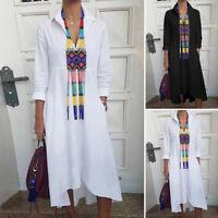 Women Plain Loose Shirt Dress Long Sleeve Solid Cotton Pockets Midi Dress S-5XL