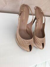 Sergio RossiSatin Platform Sling back with Swarovski Crystals Pumps 37.5 shoes
