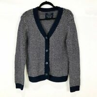 Firth Women's Wool Cashmere Cardigan Sweater Navy and White Size Medium