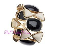 Gold Geometric Colour Block Retro Mod Chic Black Cream Resin Wide Cuff Bracelet