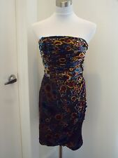 7296d58fd4 nwt JUICY COUTURE velvet burnout drape silk DEVORE dress 8 muli-color  348
