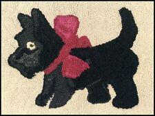 Scottie Dog Hand Hooked Rug ~ Vintage / Antique