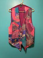 Vintage JILA Women's Silk Vest Rose Abstract Patchwork Engraved Buttons Sz M USA
