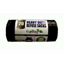 Black Pack Of 20 Heavy Duty Refuse Sacks - Eco Bag 100ltr Recycled