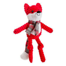 House of Paws Christmas Red Jumbo Cord and Tweed Fox Dog Toy   Medium Large Xmas