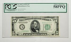 1934A $5 Boston Federal Reserve Note. Fr.1957-A. PCGS 58PPQ