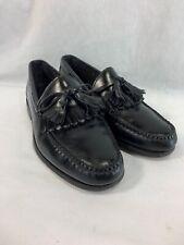 LL Bean Loafers Shoes Kiltie Tassels Mens 8 E Black Leather Slip On