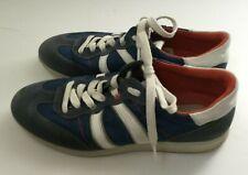 ECCO Blue Leather Suede Sneakers 42 Striped Laces Retro Orange Stitching