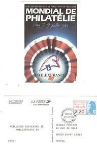 ENTIER CARTE POSTALE ELECTRONIQUE TYPE GANDON N° 2496A CP PHILEXFRANCE 1989
