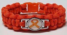 Multiple Sclerosis, Luekemia Awareness Orange Ribbon & Orange Paracord Bracelet