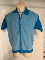 Vintage Heritage Sportswear Mens Size M Cardigan Sweater Virgin Blue White S/S