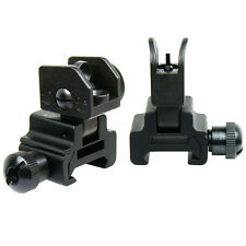 Premium Flip up Front Rear Iron Sight Set Dual Aperture Fit Picatinny Rail Black