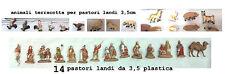 14 pastori landi 3,5 cm plastica e 13 animali terracotta presepe crib shepherds