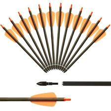 """12X 7.5inch Carbon Crossbow Bolts Arrows with 2"""" Vanes Archery Crossbow Hunting"""