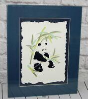 Vtg Paper Art Embossed Panda Bear Matted Ltd Signed Susan Zythewick Numbered