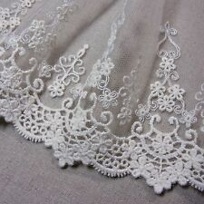 """Embroidery Mesh Net Tulle Lace Trim Ivory 14cm(5.5"""") Wide 1yd"""