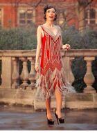 Size 10 20s Gatsby Flapper Charleston Downton Vintage Style Bead Tassle Dress
