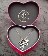 PENNINO Juicy Couture Nuovo Lungo Bronzo Peltro Collana Con Pendente Diamante in scatola cuore