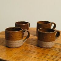 Vintage 70s Espresso Stoneware Pottery Mugs Cups Coffee Handmade Rustic Set of 4