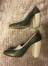 DRIES VAN NOTEN shoes heels 39 UK 6-6.5 US 8.5-9 green blue grey leather canvas