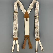 TRAFALGAR Tennis Print Beige Silk Leather Trim Suspenders