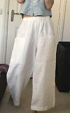 Oska Heavy Luxury Linen Elastic Waist Trousers Size 2 Fits 12 14 16