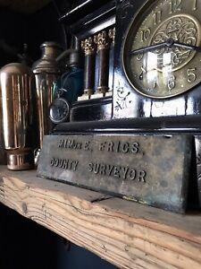 Vintage Brass Sign Plaque - County Surveyor