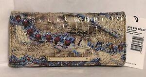 Brahmin Melbourne ADY Slim Bifold Wallet Clutch STRATUS Blue Brown Red Multi NWT