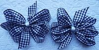 """2 NAVY BLUE AND WHITE GINGHAM 3"""" INCH RIBBON HAIR BOWS ALLIGATOR CLIP SET NEW"""