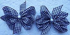 """2 azul marino y blanco moña 3"""" pulgadas cinta arcos del pelo pinza cocodrilo Set Nuevo"""