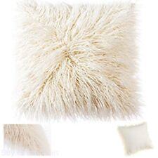 Home Decorative Plush Mongolian Fur Throw Pillow Cover Cushion Case 18Inch Beige