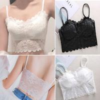 Women's Sleeveless Lace Vest Crochet Tank Tops Blouse Bralette Bra Cami Crop Top