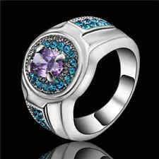Size7 Women's Purple Amethyst&blue Crystal Engagement Ring10Kt White Gold Filled