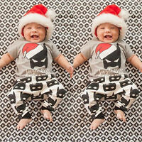 Cute 2PCS Newborn Baby Boy T Shirt Tops+Batman Pants Leggings Outfits Set Xmas