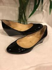 CHRISTIAN LOUBOUTIN PATENT LEATHER ROUND-TOE WEDGES 35.5 US 5.5 (SH3000