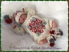 "BABYDOLL HANDKNIT DESIGNS KNITTING PATTERN CHRISTMAS SET 10-16"" DOLL/PREM BABY"