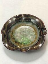Ashtray Stoneware Pottery Crackle Glass Glazed