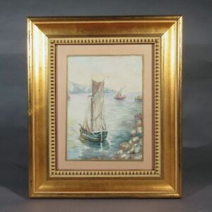 Vintage French Watercolor, Seascape, Provence, French Riviera, Sailboats, Signed