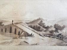 Très beau Dessin Lavis encre 1850 paysage pont mendiant signé