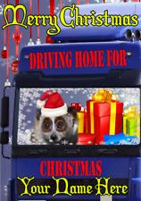 Dhfx88 lento Loris camionero conducción Casa para Navidad Tarjeta de felicitación personalizada